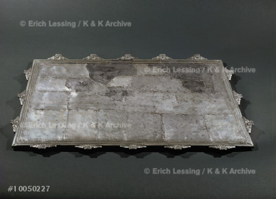 Rectangular silver tray,                               from Pompeii.