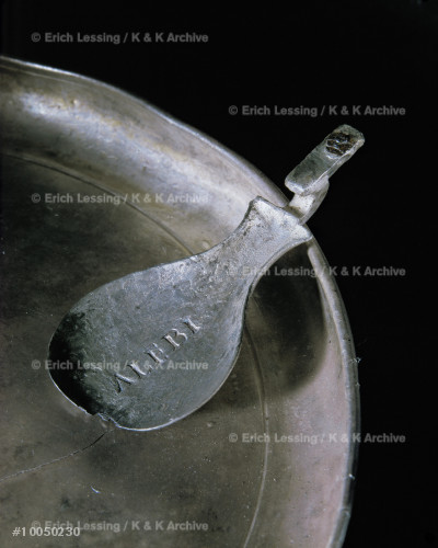 Silver spoon with engraved name,                       from Pompeii.