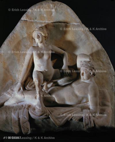 Sex. Erotic scene.                                     Marble relief from Pompeii, Italy.