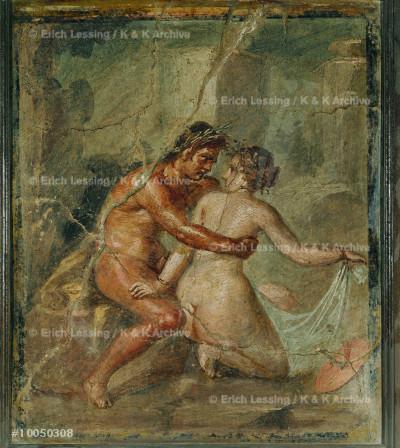 Erotic scene. Fresco                                   from Pompeii, Italy.