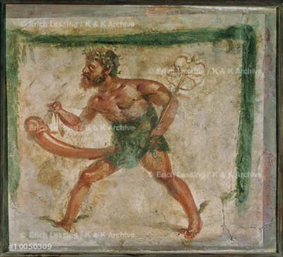 Faun with staff of Aesculapius.                        Erotic scene.                                          Fresco from Pompeii, Italy