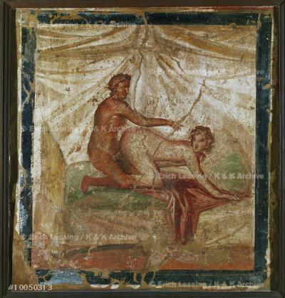 Erotic scene.                                          Fresco from Pompeii, Italy