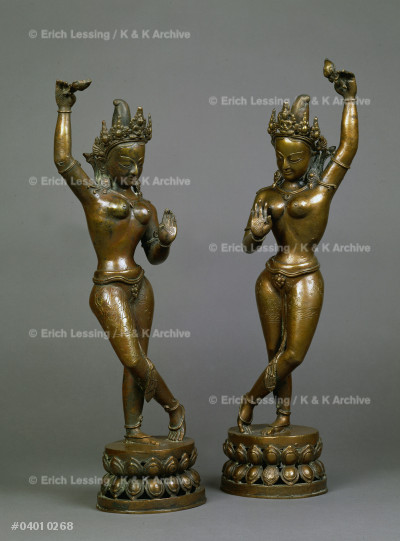Green Tara and White Tara                              Statues from a workshop in the Kathmandu Valley.       Bronze, assembled from several parts, engraved.