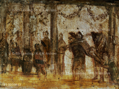 Punishment of a pupil.                                 Mural from Pompeii, Italy