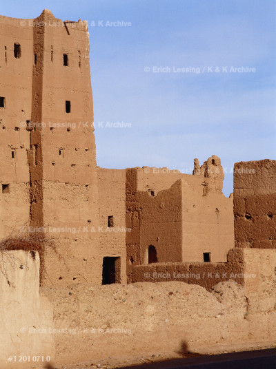 Kasbah (fortified palace) and ksar (village fortified  by high mudbrick walls) in the Valley of the Dades     river,Morocco.