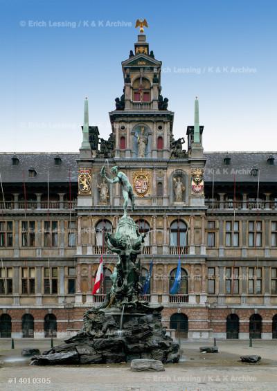 City hall, Antwerp, center of facade                   by Cornelius Floris, 1561-1566