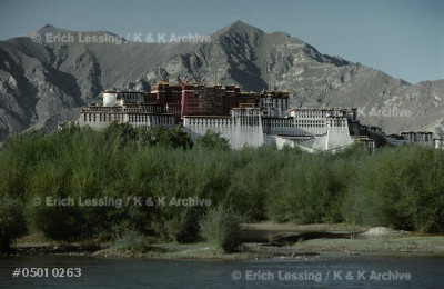 Potala Palace in Lhasa, Tibet; residence of the Dalai  Lamas, rulers of Tibet, until the Chinese occupation,  when the 14th Dalai Lama fled to India. Since 1965     Tibet is an autonomous province of China. Potala Palacewas begun by the 5th Dalai Lama in 1645.