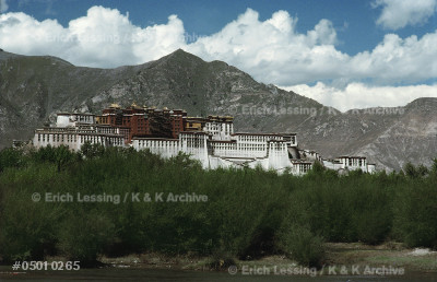 Potala Palace in Lhasa, Tibet; residence of the Dalai  Lamas, rulers of Tibet, until the Chinese occupation,  when the 14th Dalai Lama fled to India. Since 1965     Tibet is an autonomous province of China. Potala Palacewas begun by the 5th Dalai Lama, in 1645.