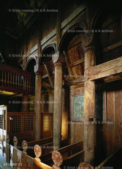 Urnes stave church, interior.