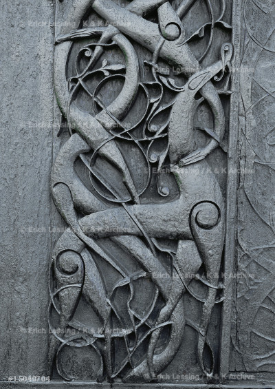 Urnes church, Sogn, Norway, woodcarving with animal    and vegetal forms on the outer walls.