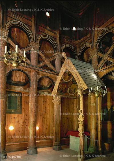 Borgund stave church, Sogn, Norway. Interior           with altar.