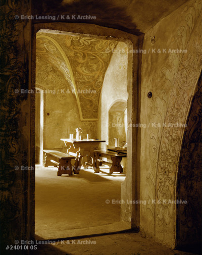 A medieval tavern. Reconstruction                      in the basement of the Collegium Maius                 (old university) in Cracow, Poland.
