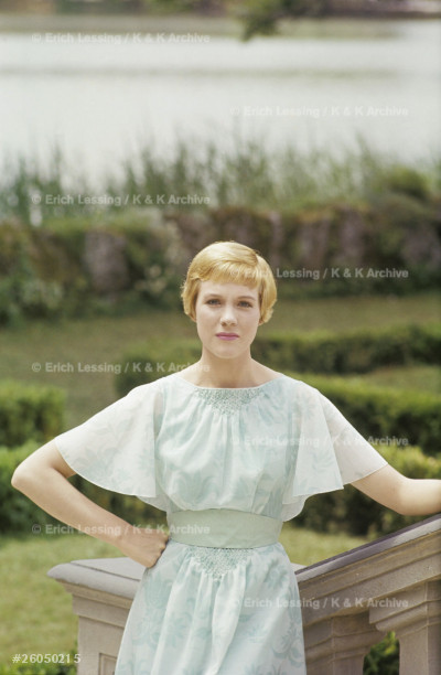 Julie Andrews (Maria) on the terrace of castle Leopoldskron. The making of The Sound of Music. Salzburg, Austria, 1964.
