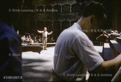 Herbert von Karajan conducting a rehearsal of Beethoven's Fidelio at the Salzburg Festival.