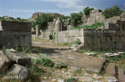 City wall and gate of Pergamon. During the             