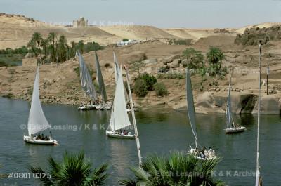 Sailboats near Elephantine                             Island, Assuan, Egypt.