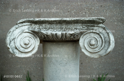 Ionic column, an ornamental form developed in          