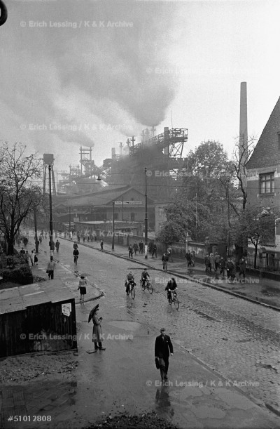 Change of shift:workers leaving the steelworks in      Duisburg,West-Germany,1951