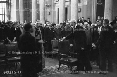 At a reception in the Austrian parliament in Vienna,Austrian president Theodor Koerner welcomes Austria'sCardinal Theodor Innitzer. Vienna, 1953.