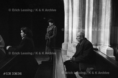 People praying in Vienna's St.Stephen's Cathedral.     Vienna,1953