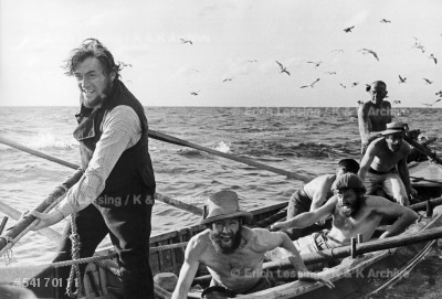 """John Huston's film """"Moby Dick"""", based on the novel by Herman Melville, starred Gregory Peck, Orson Welles, Friedrich Ledebur and Richard Basehart. Gregory Peck as Captain Ahab and his crew attack the White Whale.      Canary Islands, 1954"""