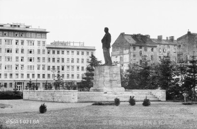 Berlin before the wall was built: Stalin monument on Stalin-Allee, East Berlin's Soviet-style boulevard.      The monument was dismantled after the Hungarian Revolution in 1956.  Berlin-East, 1955