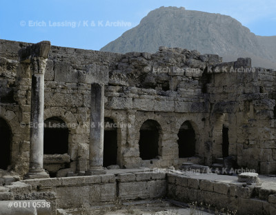 Roman Baths. In the background Acrocorinth,            