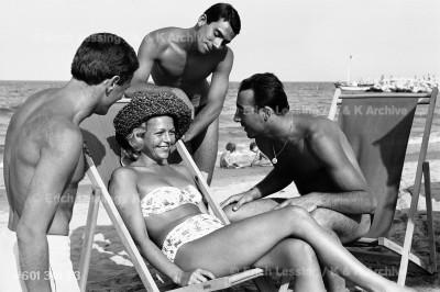 The happy life at an Italian beach.  Cesenatico, 1960
