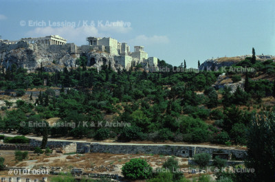 The Acropolis in Athens seen across the Agora. The for-