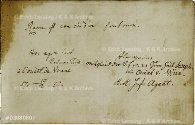 Stammbuch für einen Freimaurer (Johann Georg Kronauer). Papier 10,7cm x 16,6cm 1783-1791, Wien