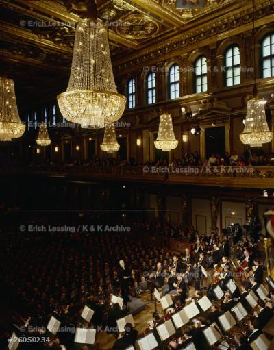 Herbert von Karajan conducting the Vienna Philharmonic Orchestra  at Vienna's Musikverein concert hall.