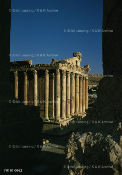 Temple of Bacchus, Baalbek, Lebanon.                   Baalbeck was lavishly provided with temples by         the later Roman emperors, from Antoninus Pius          (138-151 CE) to Caracalla (211-217 CE).