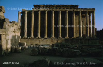 Temple of Bacchus, Baalbek, Lebanon.                   Baalbek was lavishly provided with temples by          the later Roman emperors from Antoninus Pius           (138-151 CE) to Caracalla (212-217 CE).