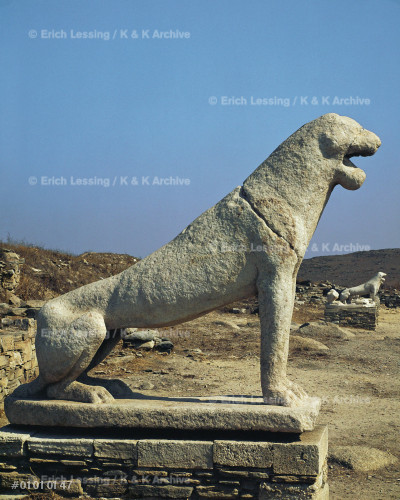 Archaic lion on the Lion's Terrace, Delos. Five of     at least nine original lions still face the Sacred     Lake.                                                  Marble from Naxos