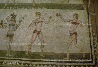 """""""Bikini girls"""" holding palm branches and discus.       Detail of a mosaic in the Villa del Casale,            Piazza Armerina, Sicily, Italy (3rd-4th CE)."""