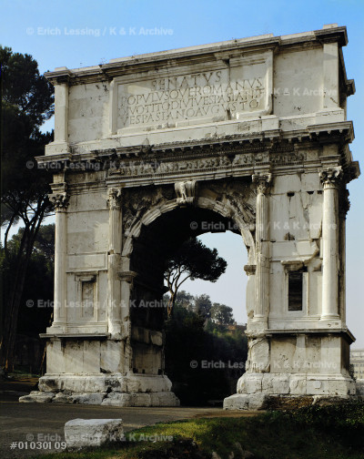 Arch of Titus on the Forum in Rome, erected by         