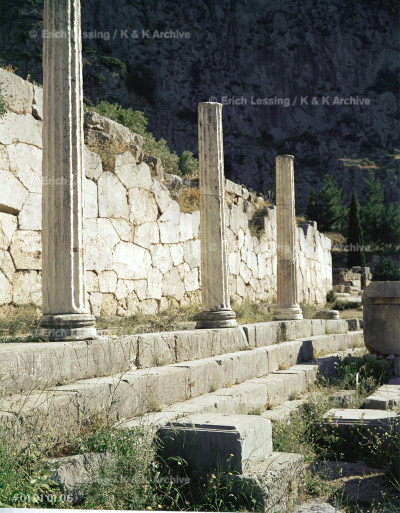 Athenian Stoa, Delphi. An open hall, supported by      