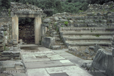 Actors' entrance to the stage of the theatre           