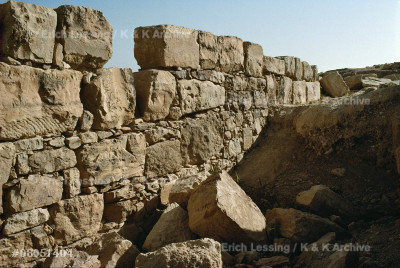 Dhibon,Jordan. A rampart of a Moabite fortification,   9th BCE, built either by the Israelite king Omri, or   by the Moabite ruler Mesha who conquered the place.    See king Mesha's victory stele 08-05-06/13,            08-05-14/55,56