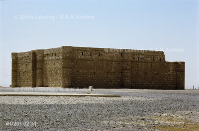 The desert palace of Qasr el-Karaneh with its          