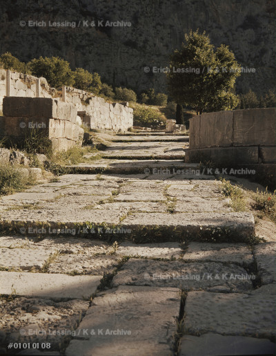 The Sacred Way, Delphi, leads through the Apollo       