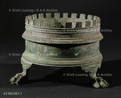 Brazier shaped like an altar.                          Bronze, from Pompeii.