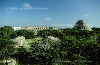 The Quadrangle of the Nuns (left) and the Pyramid      of the Magician rise from the dense jungle around      Uxmal. This most important Maya city in Yucatan        flourished from the 7th to the 10th century.